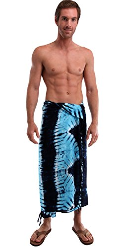 Effect hombres World Sarong Sarongs de Baby dye Jungle 1 Tie para Blue qUwgES