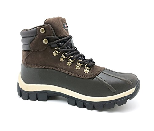 LM Men Waterproof Rubber Sole Winter Snow Boots Work Boots 7014 (11 D(M) US, 2017 Brown) (Snow Boots Lace Winter)
