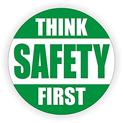 """1 Pcs Exceptional Popular Think Safety First Car Sticker Sign Helmet Rescue Hard Hat Decal Medical Security Size 2"""" Color Green and White"""