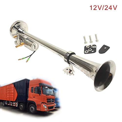 Hoorn 1pc super luid luchthoorn chroom 45mm auto boot trein hoorn 12V / 24V grote magneetventiel elektronische hoorn…