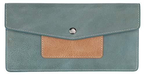 Lavemi RFID Blocking Ultra Slim Real Leather Credit Card Holder Clutch Wallets for Women(1-Envelope Vintage Blue)