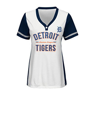 MLB Detroit Tigers Women's Team Name Rugged Competitor Pull Over Color Block Jersey, Medium, White/Athletic Navy