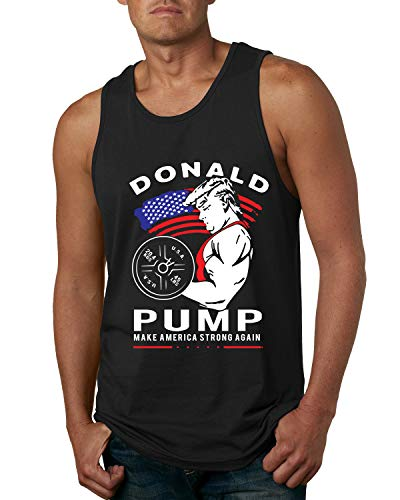 Pump Weight - Wild Bobby Donald Pump Funny Trump USA Weight Lifting | Mens Pop Culture Graphic Tank Top, Black, Large