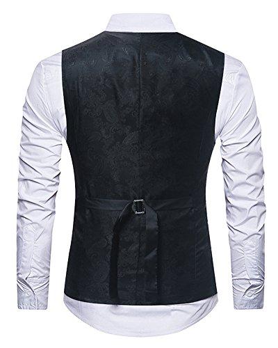 Nuit De Shifan Gilet Boîte Casual V Homme Impression Col Sans Mince Manche Élégant Noir Costume xOpqwx7z