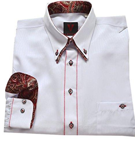 Leché Designerhemd in Weiß mit Doppelkragen