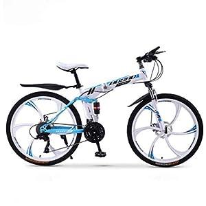 41aj4MFgzDL. SS300 JXH Mountain Bike Bicicletta Pieghevole, 21-velocità Doppio Freno a Disco Sospensione Totale Anti-Slip, variabili off-Road Moto Racing Speed per Uomini e Donne,White 21 Speed 24in