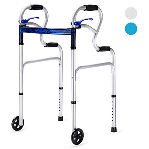 """Health Line 3 in 1 Stand-Assist Folding Walker with Trigger Release and 5"""" Wheels Supports up to 350 lbs, Compact Lightweight & Portable - w/Bonus Glides, Silver"""