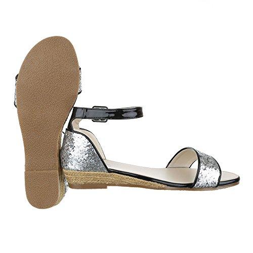 Ital-Design - Sandalias de vestir de Material Sintético para mujer plata