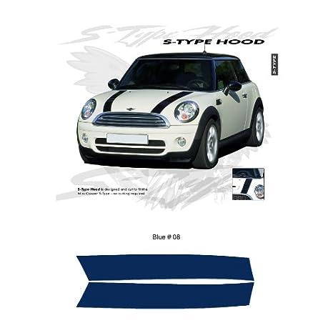 Amazoncom Mini Cooper Blue Cooper S Style Hood Stripes Graphic Kit