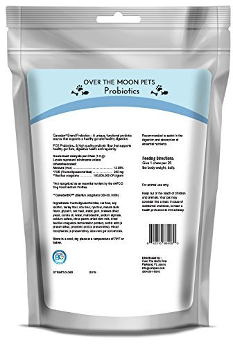 Over The Moon Pets Daily Probiotics for Dogs with Prebiotics - 60 Duck Flavored Chews for Healthy Digestion and Immunity Support