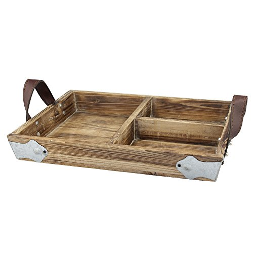 Wooden Rectangular Tray (Stonebriar Rectangle Divided Wood Serving Tray with Brown Leather Handles, Rustic Butler Tray, Country Home Decor Accessories, Use for Serving Snacks or Displaying Utensils at Parties)