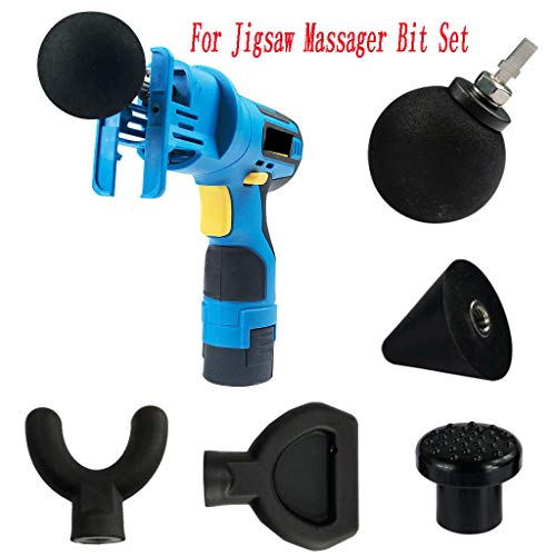 Attachment Worx, Exteren Percussion Massage 6pcs Tip & Bit For Jigsaw Massager Adapter Attachment Worx (Black)