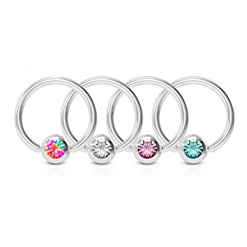 Amelia Fashion 16 Gauge Crystal Set Ball Captive Bead Ring 316L Surgical Steel(Choose Color) (Aurora Borealis)