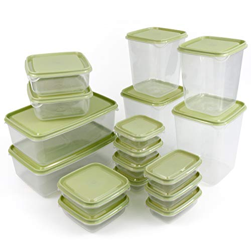Food Storage Containers Set of 17 (34 Pieces Total) with Lids, Food Storage Boxes Set Reusable Lunch Boxes Microwave, Freezer, Dishwasher