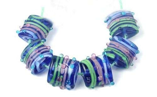 ShopForAllYou Design Making 6 Lampwork Handmade Glass Square Pink Green Blue Ribbon Beads 18mm (Crystal Letters 18mm Square)