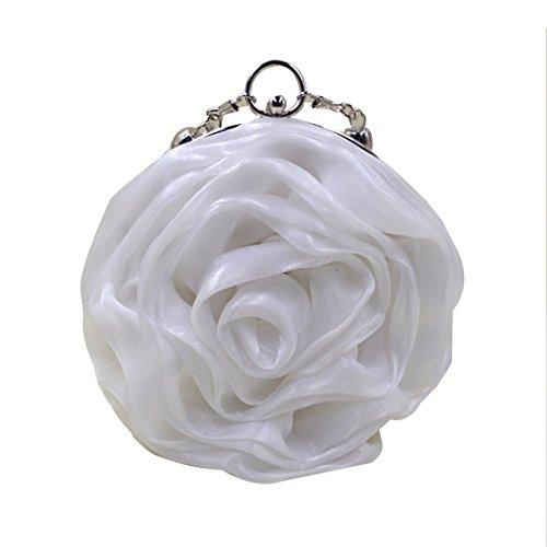 Bag Satin White Evening Wristlet Mily Womens Shaped Flower AFqa1tw