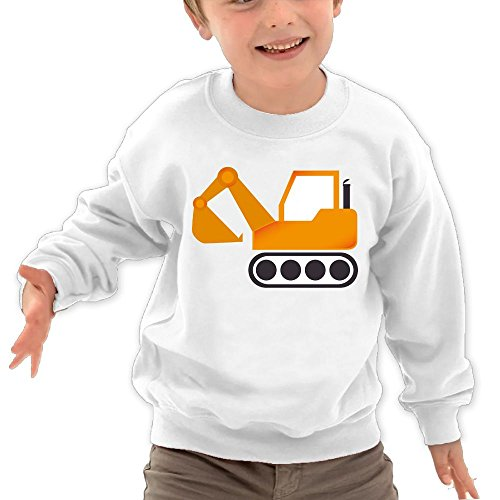 Price comparison product image Puppylol Orange Excavator Construction Vehicles Kids Classic Crew-neck Pullover Hoodie White 5-6 Toddler