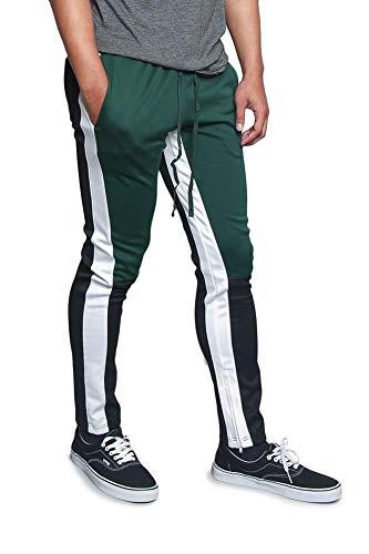 - Men's Color Block Dual Side Stripe Contrast Color Slim Fit Drawstring Premium Track Pants TR523 - Green - 4X-Large