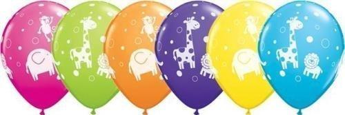 - Cute & Cuddly Jungle Animals Qualatex 11 inch Latex Balloons (Tropical Assortment, 25 Pack)
