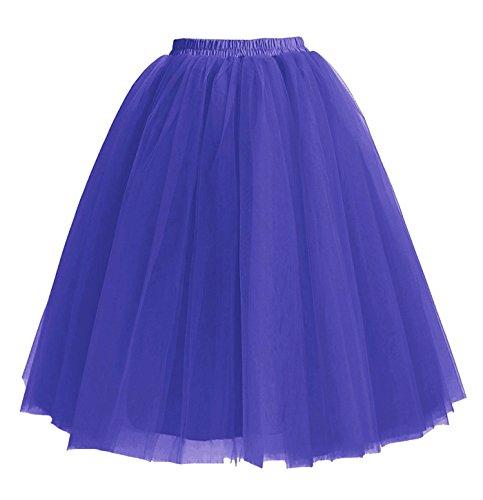 Genou Tulle Longueur Couches Jupons Facent sous 5 Roi Femmes 65cm Jupes Robe Tutu Bleu w4xC61q