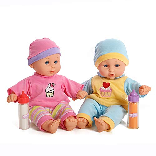 - 12'' Baby Twins Dolls 1 Boy & 1 Girl with Milk & Juice Bottle