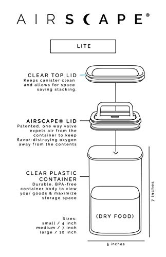 Airscape Lite Plastic Airtight Food Storage Canister - Patented Airtight Lid Preserves Food Freshness, Clear, Medium 7-Inch