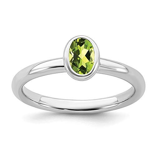 925 Sterling Silver Oval Green Peridot Band Ring Size 5.00 Stone Stackable Gemstone Birthstone August Fine Jewelry Gifts For Women For Her