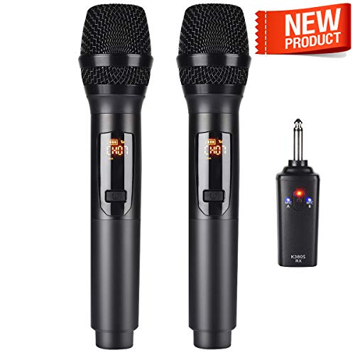 Kithouse K380S Rechargeable Wireless Microphone Karaoke Microphone Wireless Mic Dual with Receiver System Set - Professional UHF Handheld Dynamic Cordless Microphone for Singing Karaoke Speech Church