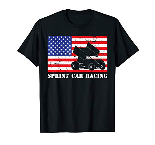 - Distressed Sprint Car Racing USA American Flag Vintage Rider T-Shirt