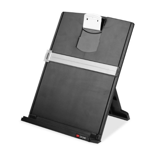 Holder with Adjustable Clip, Holds Letter, Legal and A4 Documents, Bottom Ledge Has Lip to Keep up to 150 Sheets Securely in Place, Folds Flat for Storage, Black (DH340MB) (Fold Bottom)