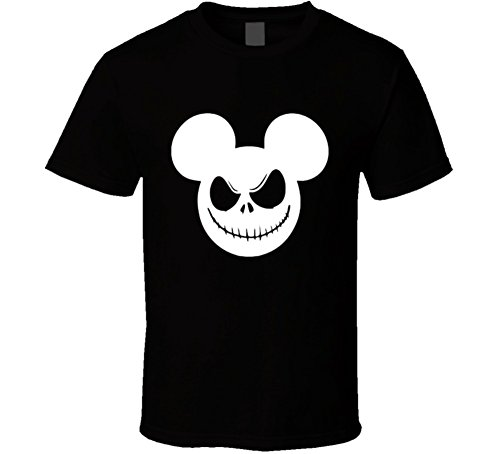 Mickey Mouse Nightmare Christmas Jack Skellington Funny Halloween Costume Cool T Shirt XL Black]()