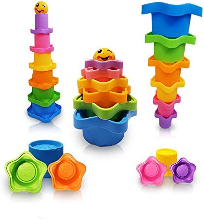 6PCS Colorful Stacking Bath Toy Animals Shaped Stack Up Cups Toys Building Toy