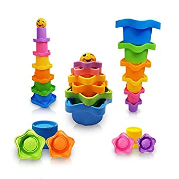 Maras Box Star Stacking /& Nesting Cups for Toddlers and Owl Drawstring Backpack Educational Bath Toys for Boys and Girls Star Stacking