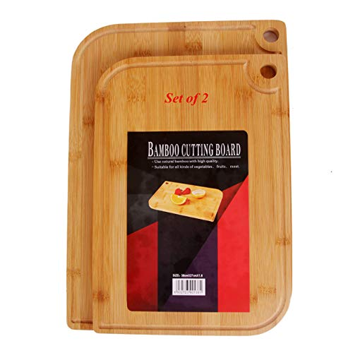 Fruit Chopping Board,Bamboo Cutting Board Set of 2(13×9×0.6;15×10.6×0.6 inch),Friendly Wood Chopping Boards with Juice Groove for Food Prep,Meat,Vegetables,Fruits,Crackers&Cheese - 100% Natural Bamboo