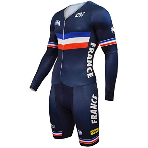 Price comparison product image BeesClover ALE France Team Cycling Jerseys Long Sleeves Cycling Skinsuit Set Triathlon Conjoined Ropa Ciclismo Cycling Jumpsuit 1 L