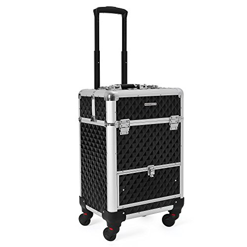 SONGMICS Rolling Trolley Makeup Train Case, Barber Case With Large Sliding Drawers, with Removable Dividers, 4 Removable Universal Wheels for Easy Portable Travel, Lockable Aluminum Case Black UJHZ07B