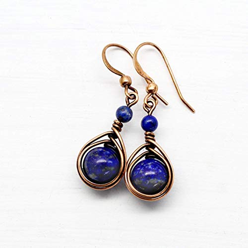 Copper Wire Wrapped Earrings with Lapis Lazuli Gemstone