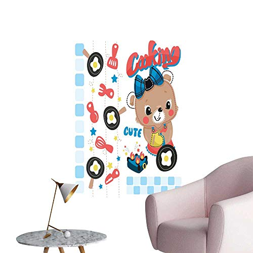 SeptSonne Wall Decorative Bear Cook frie Eggs on White backgroun Pictures Wall Art Painting,20