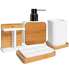 The Ritz bathroom accessory set adds sophistication and a touch of glamour to your bathroom dé cor. This modern handcrafted resin collection is luxurious, stylish, and helps keep your bathroom dé cor clean, fresh, and organized. The set inclu...