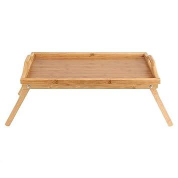 Asbjxny Bandeja de Cama de bambú de Madera Plegable Desayuno ...