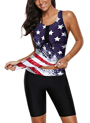 Aleumdr Womens USA American Flag Two Picec Swimsuits Tank Color Block Tankini with Capris Bottom Stars and Stripes Medium 8 10