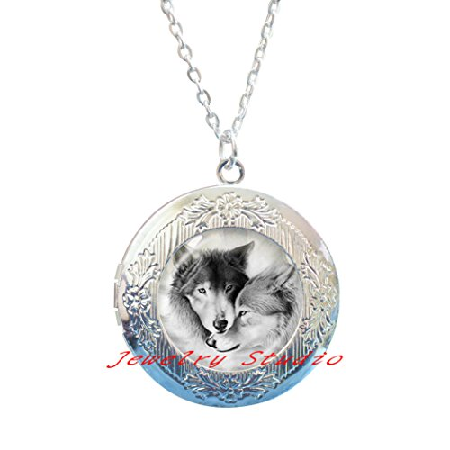 Charming fashion Locket Necklace,Love Wolf Locket Necklace for Couples Lover Grey Natural Animal Jewelry Glass Cabochon Locket Pendant Chain Neckless Valentine's Day Gifts-HZ00144
