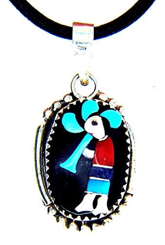 MADE IN USA By Zuni Artist Judith Abeita Calavaza inlayed Kokopelli necklace (16)