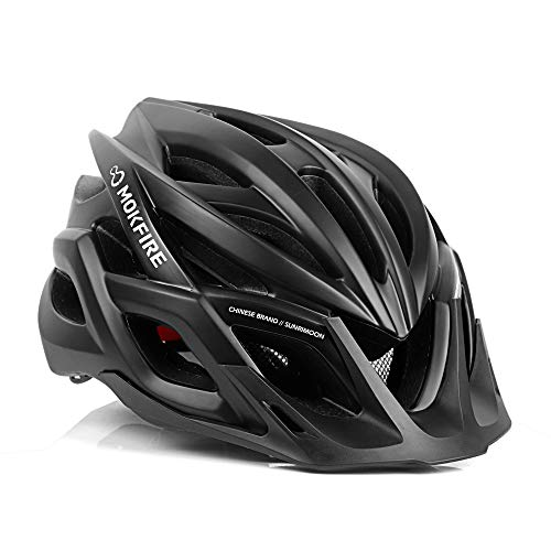 MOKFIRE Adult Bike Helmet CPSC Certified with Rechargeable USB Light, Bicycle Helmet for Men Women Road Cycling & Mountain Biking with Detachable Visor/Replacement Lining, 22.05-24.41 Inches