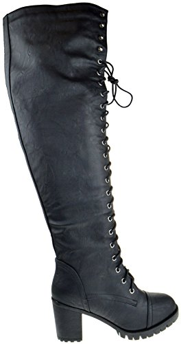 Illusion 01 OK Womens Thigh High Lace UP Chunk Heel Combat Boots