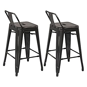 Image of ACEssentials Low Back Distressed Counter Stool (2 Pack) Furniture