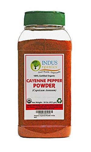 Indus Organics Cayenne Pepper Powder (40,000 SHU), 1 Lb Jar, Steam Sterilized, Premium Grade, High Purity, Freshly Packed