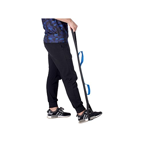 Leg Lifter Strap Foot Rigid Loop Lift & Three Hand Grip for Wheelchair, Bed, Car, Hip Replacement, Senior & Elderly Mobility Aid Tool (Blue) by Mybow