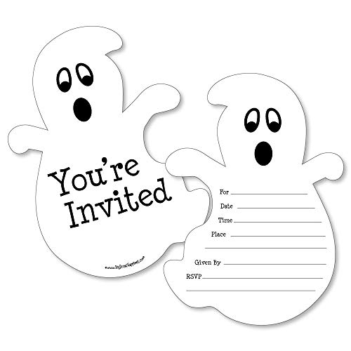 Spooky Ghost - Shaped Fill-in Invitations - Halloween Party Invitation Cards with Envelopes - Set of 12]()