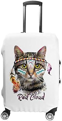 スーツケースカバー トラベルケース 荷物カバー 弾性素材 傷を防ぐ ほこりや汚れを防ぐ 個性 出張 男性と女性かわいいオリジナル猫がドレスアップ